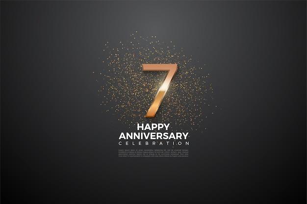 7e verjaardag met een zeer glanzende nummerillustratie in het midden.