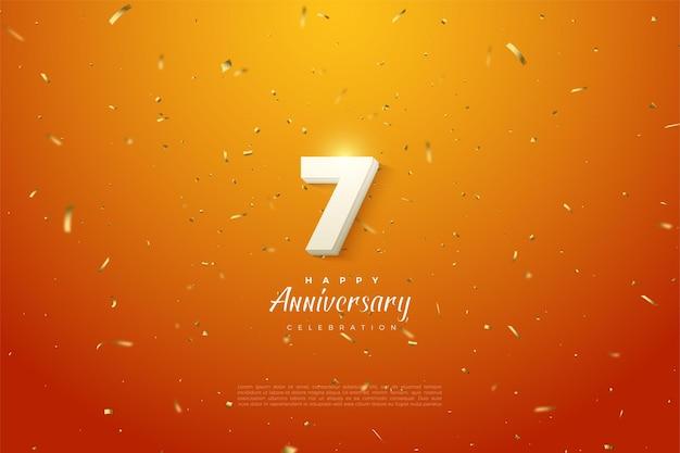 7e verjaardag met gewaagde witte cijfers op goud gespikkelde oranje achtergrond.