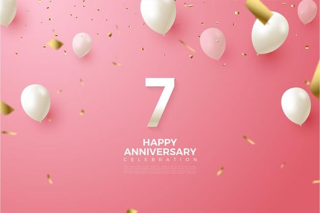 7e verjaardag met illustratie van cijfers en vliegende ballonnen.
