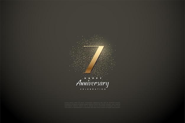 7e verjaardag met illustratie van gouden cijfers en glitter.