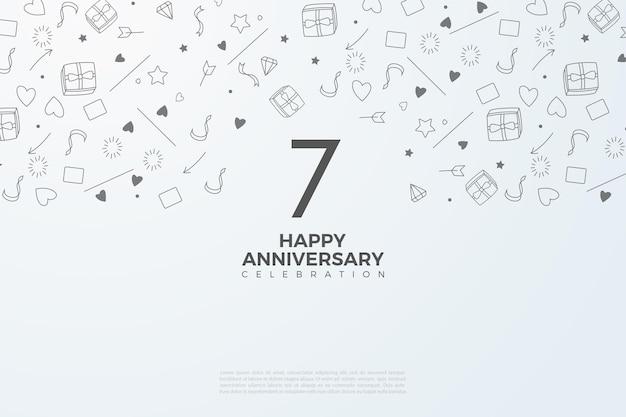 7e verjaardag met kleine geïllustreerde achtergronden.