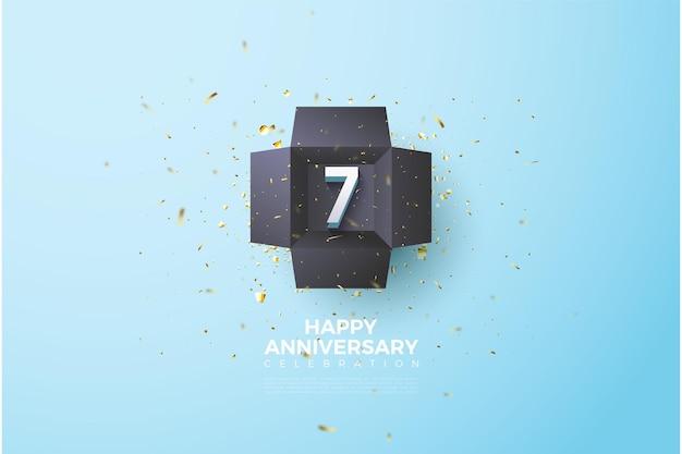 7e verjaardag met nummerillustratie in zwarte doos.