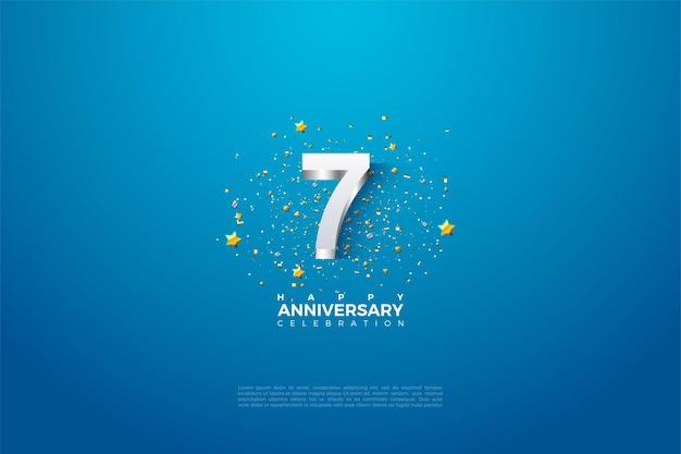 7e verjaardag met sprankelende zilveren cijfers.