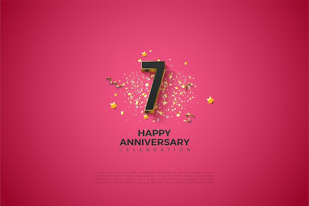7e verjaardag met vergulde cijfers