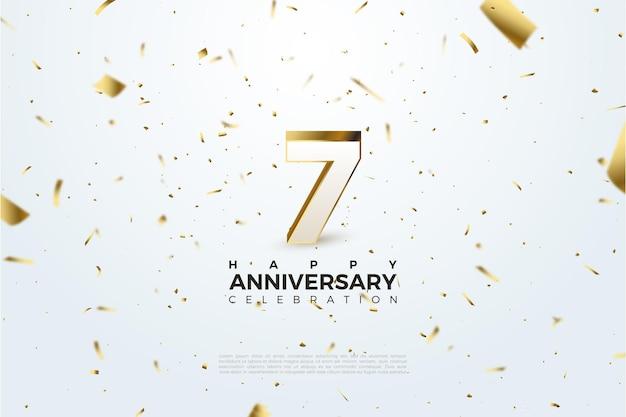 7e verjaardag met verspreide cijfers en goudfolie-illustraties.