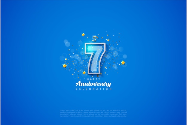 7e verjaardag met witte lijnen die getallen vormen.