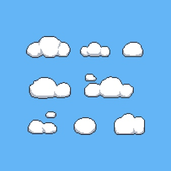 8 bit clouds vector set.