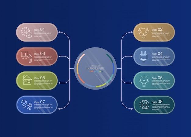 8 gegevensinfographics en pictogrammen voor bedrijfsconcept.