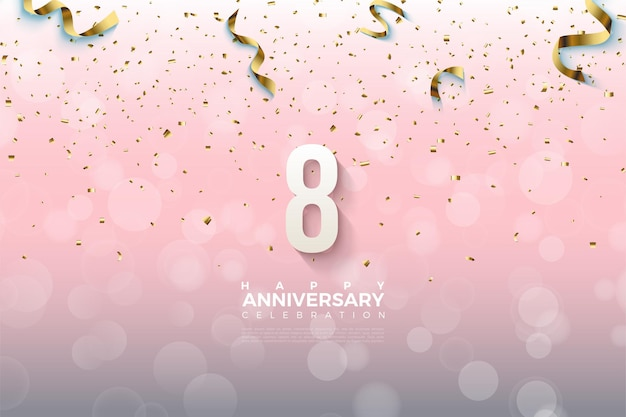 8-jarig jubileum met getallen overladen met gouden linten.