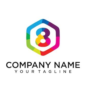 8 letter logo icon zeshoek ontwerpsjabloon element