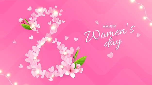 8 maart dames dag samenstelling met roze achtergrond sierlijke tekst en cijfer gemaakt van roze bloemblaadjes illustratie