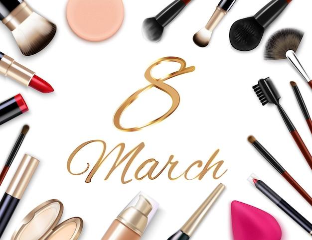 8 maart damesdagsamenstelling met geïsoleerde afbeeldingen van applicatorborstels, lippenstiften en sierlijke gouden tekstillustratie