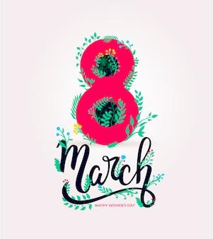 8 maart. fijne vrouwendag. groen witboek gesneden bloemen wenskaart