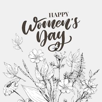 8 maart. gelukkige vrouwendag felicitatie kaart met lineaire bloemen krans