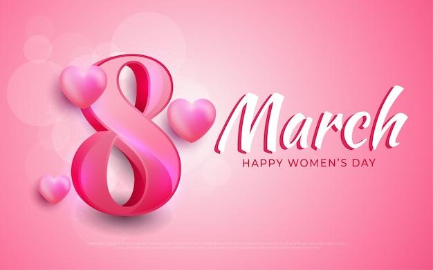 8 maart, gelukkige vrouwendag in realistische stijl