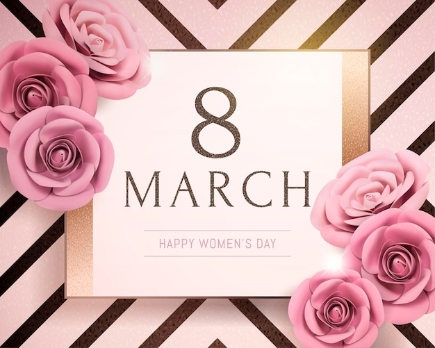 8 maart gelukkige vrouwendag met papieren rozen op gestreepte achtergrond