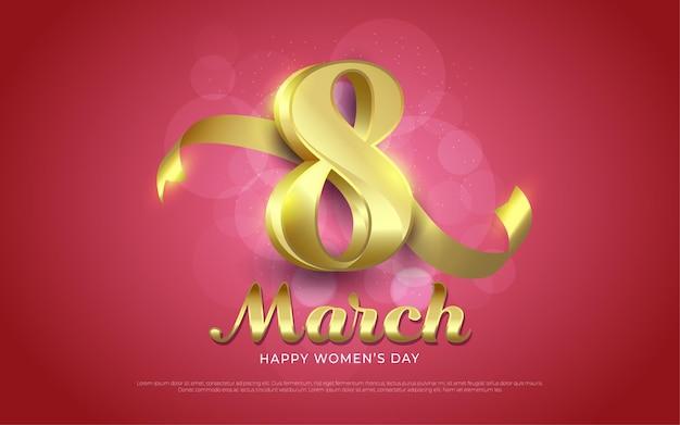 8 maart, happy women's day goud in realistische stijl