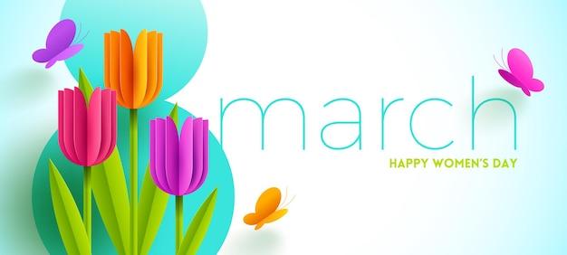 8 maart - internationale vrouwendag illustratie. wenskaart met papieren tulpen bloemen en vlinders.