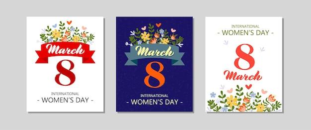 8 maart internationale vrouwendag vector wenskaarten set illustraties met een patroon