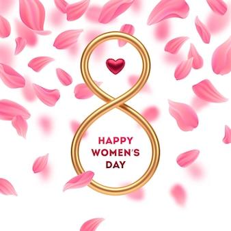 8 maart - internationale vrouwendag wenskaart. gouden nummer acht met robijnrode hart.