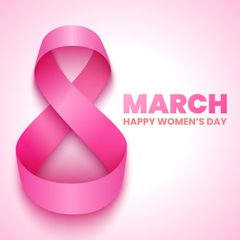 8 maart. internationale vrouwendag wenskaart. roze lintje. illustratie.