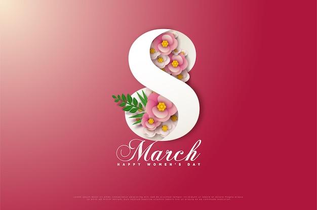8 maart kaart met nummers bedekt met bloemen op een kaart met kleurovergang.