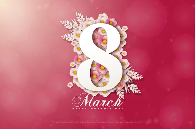8 maart kaart met nummers op bloemen.