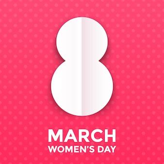 8 maart papercut illustratie voor internationale vrouwendag-kaart.