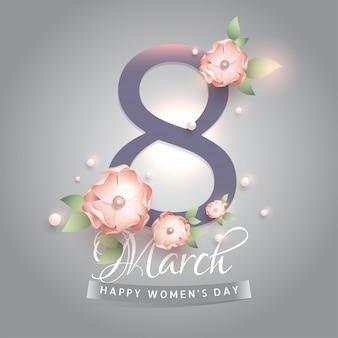 8 maart tekst versierd met bloemen en parels op gloeiend grijs b