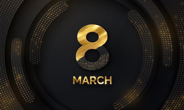 8 maart vrouwendag banner met zwart papier vormen en glitters