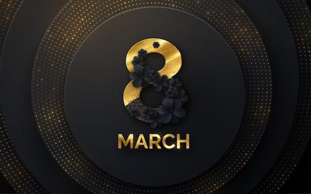 8 maart vrouwendag banner met zwarte bloemen en glitters
