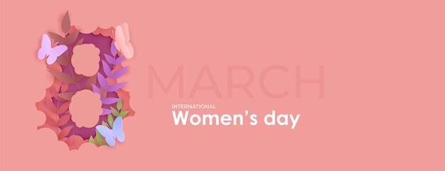 8 maart vrouwendag. bloemen in nummer acht uit papier gesneden.