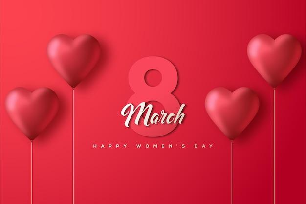 8 maart vrouwendag met getallen op een witte achtergrond en een rode liefdeballon
