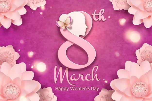 8 maart vrouwendag met vrouwenhoofd en roze bloemenlijst in papieren ambachtelijke stijl