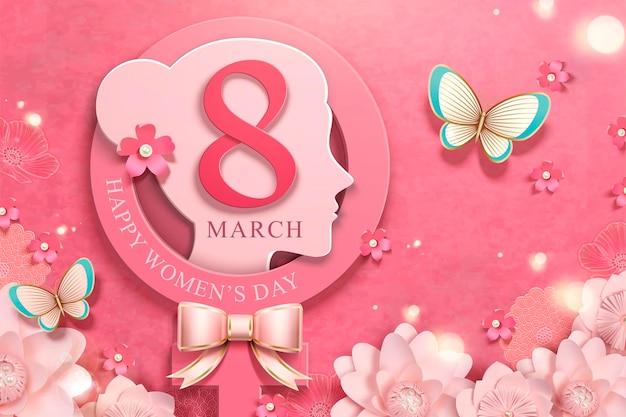 8 maart vrouwendag met vrouwenhoofd en roze bloementuin