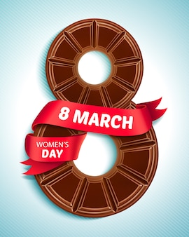 8 maart, vrouwendag. wenskaart met chocolade en rood lint