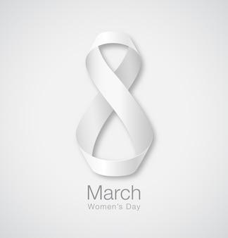 8 maart, vrouwendag wenskaart met realistisch symbool van wit lint