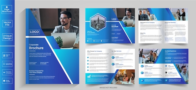 8 pagina's abstract brochureontwerp bedrijfsprofiel brochureontwerp halfgevouwen brochurevouwbrochure