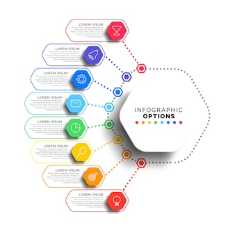 8 stappen infographic sjabloon met realistische zeshoekige elementen op wit