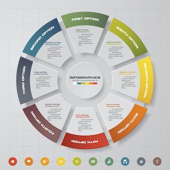 8 stappen infographicselementen van cycle chart.