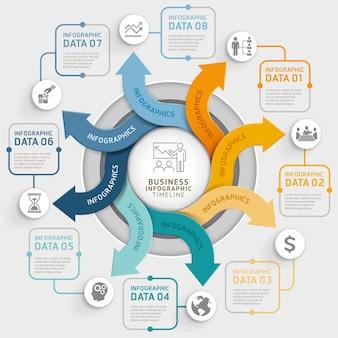 8 stappen pijl cirkel infographics sjabloon.