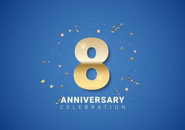 8 verjaardag achtergrond met gouden cijfers, confetti, sterren op heldere blauwe achtergrond. vectorillustratie eps10