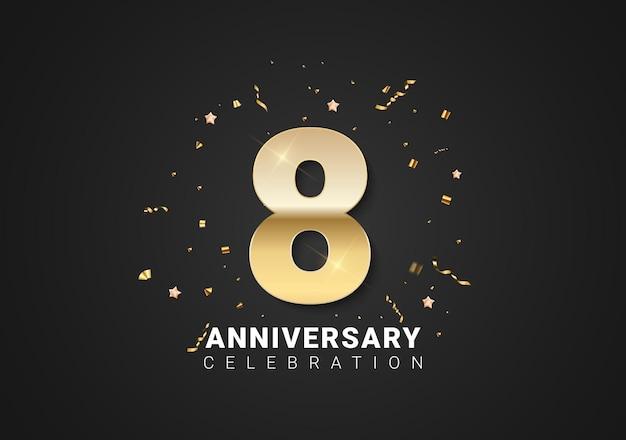 8 verjaardag achtergrond met gouden cijfers, confetti, sterren op heldere zwarte achtergrond. vectorillustratie