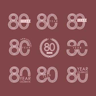 80 jaar verjaardag vector sjabloon ontwerp illustratie