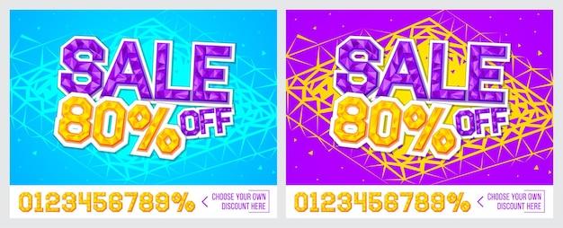 80 korting verkoopbanner op kleurrijke achtergrond