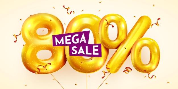 80 procent korting op creatieve compositie van gouden ballonnen mega-uitverkoop of tachtig procent