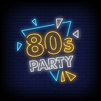 80's party neon sign stijl tekst