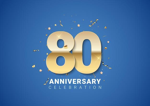 80 verjaardag achtergrond met gouden cijfers, confetti, sterren op heldere blauwe achtergrond. vectorillustratie eps10