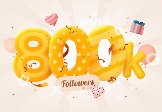 800.000 of 800.000 volgers bedankt roze hart, gouden confetti en neonreclames.