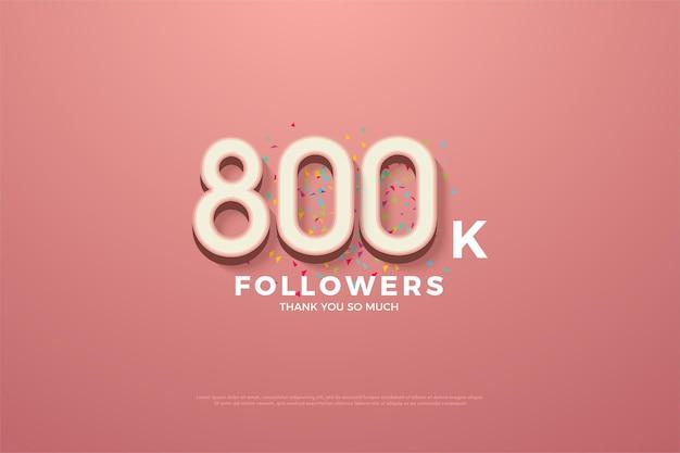 800k volgers met kleurrijke cijfers en doodles